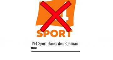 TV4 Sport släcks den 3 januari